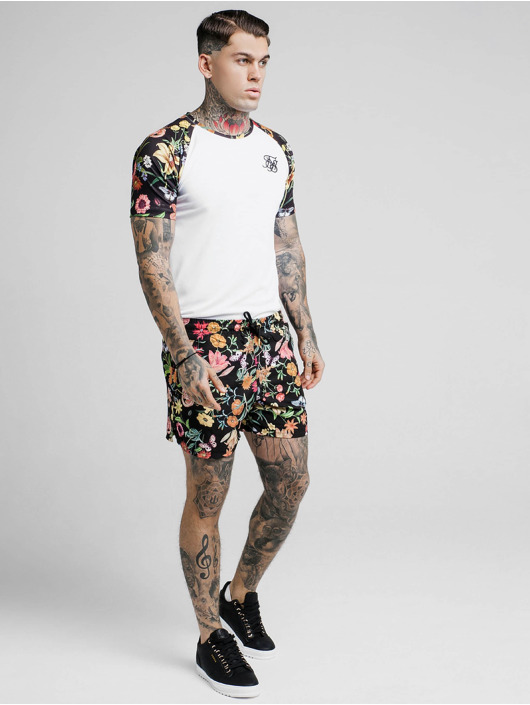 Sik Silk T-Shirty Secret Garden Raglan Curved Hem bialy