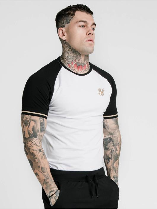 Sik Silk T-Shirty Raglan Inset Cuff Gym bialy