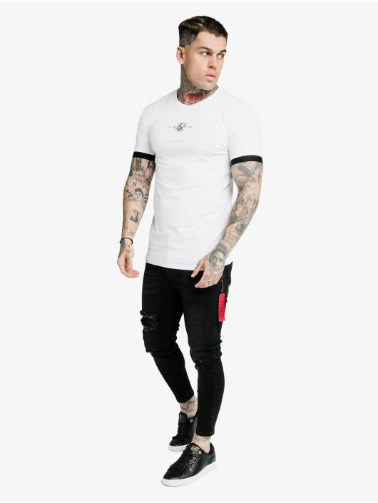 Sik Silk T-Shirty Inset Elastic Cuff Gym bialy