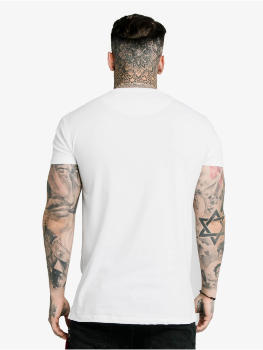 Sik Silk T-Shirty Straight Hem Chain Print Box bialy