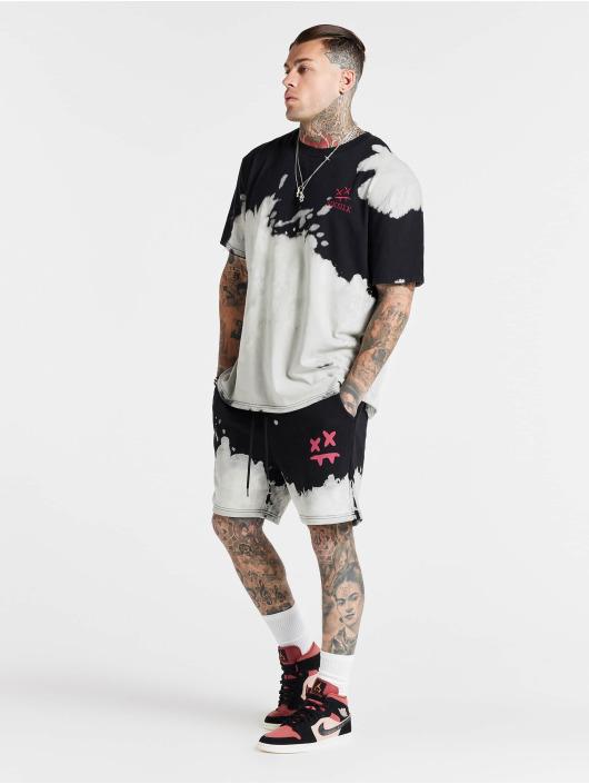 Sik Silk T-Shirty X Steve Aoki Bleach Wash Oversized bialy