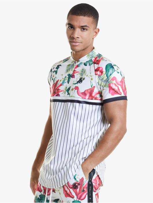 Sik Silk T-Shirty Retro Tropics Baseball bialy