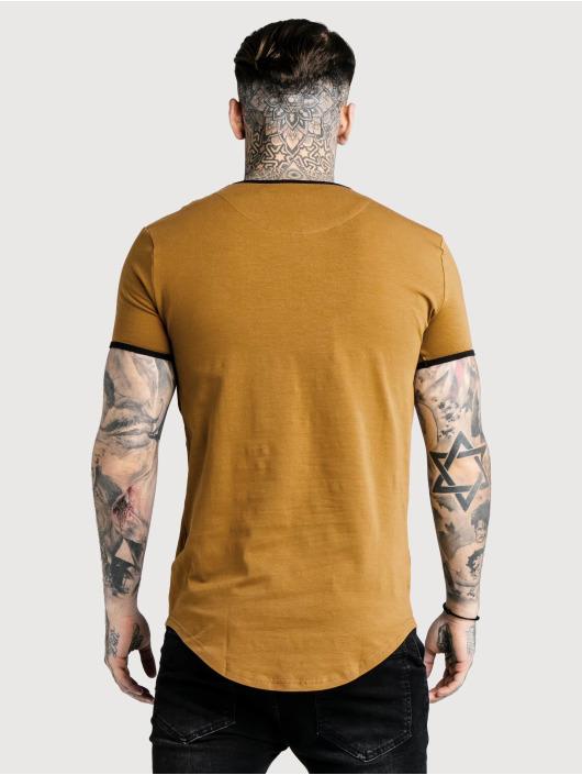 Sik Silk T-Shirty Ringer Gym brazowy