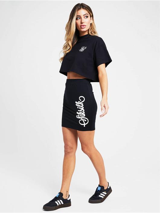 Sik Silk T-Shirty Retro Box Crop czarny