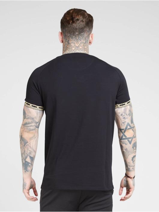 Sik Silk T-Shirty Raglan Straight Hem Tape Gym czarny