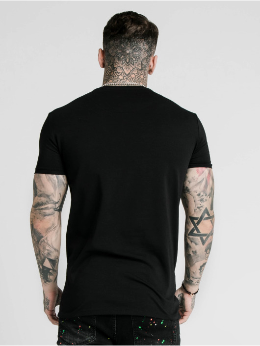 Sik Silk T-Shirty Straight Hem Gym czarny