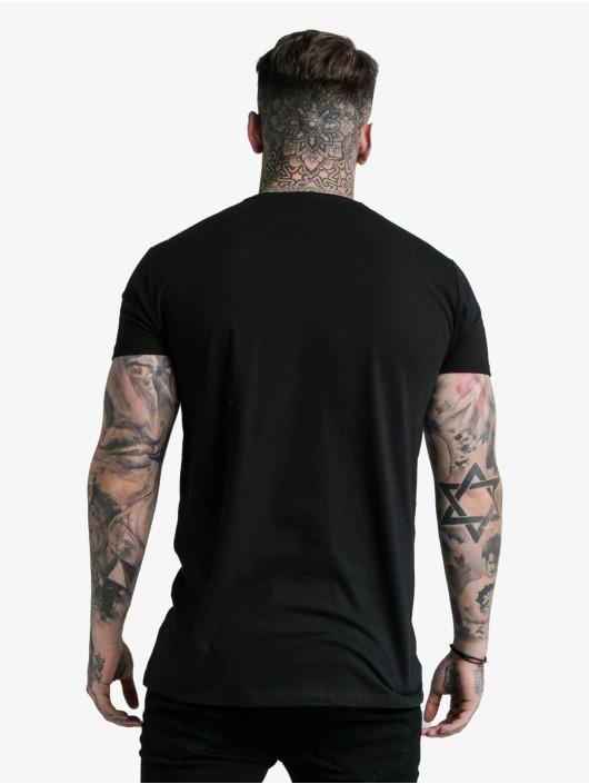 Sik Silk T-Shirty Straight Hem Chain Print Box czarny
