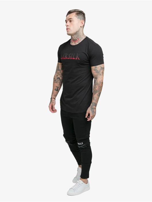 Sik Silk T-Shirty Rhinestone czarny