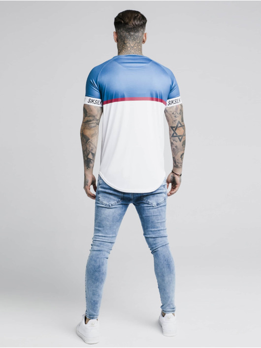 Sik Silk T-Shirty Raglan Stripe Tech niebieski