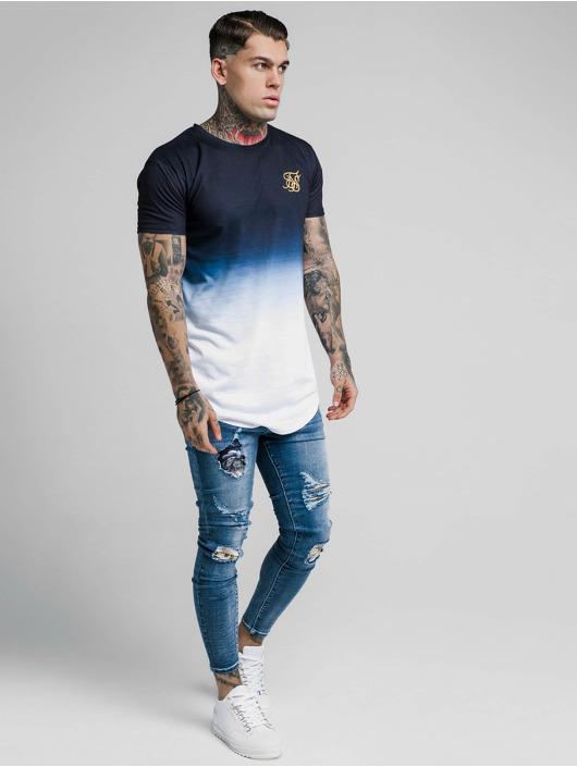 Sik Silk T-Shirty Curved Hem Tri Fade niebieski