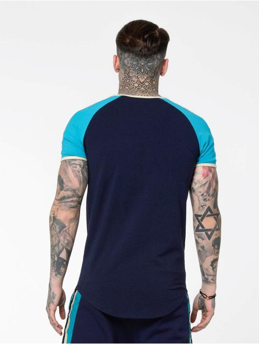 Sik Silk T-Shirty S/S Contrast Tape Gym niebieski