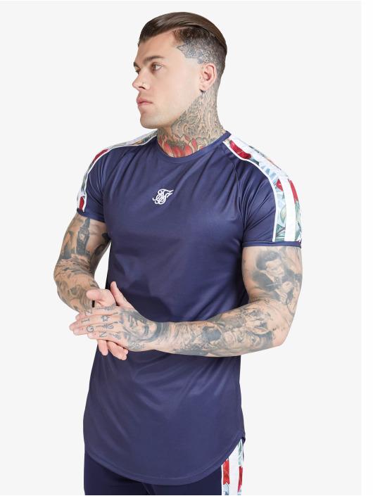 Sik Silk T-Shirty S/S Curved Hem Raglan niebieski