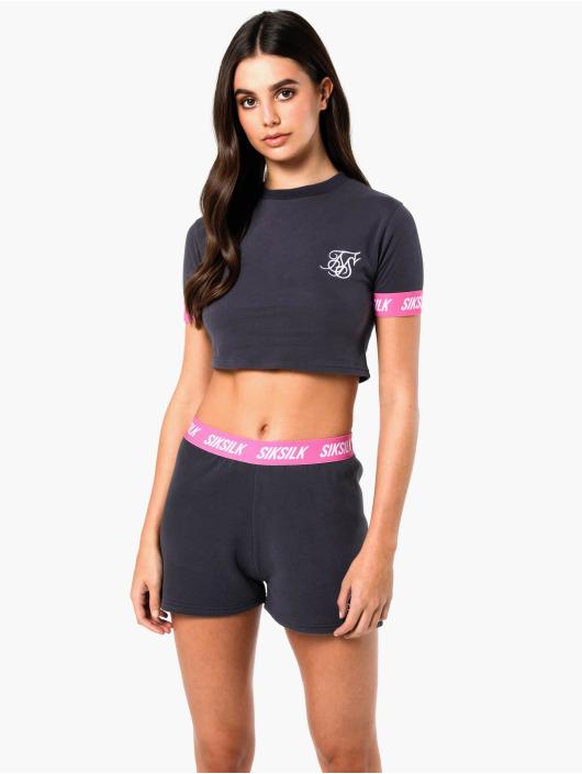 Sik Silk T-Shirty Elastic Collar Retro Box szary