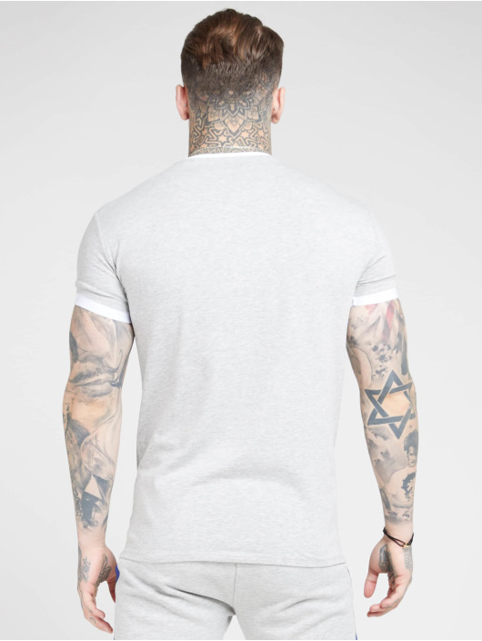 Sik Silk T-Shirty Inset Straight Hem Ringer Gym szary