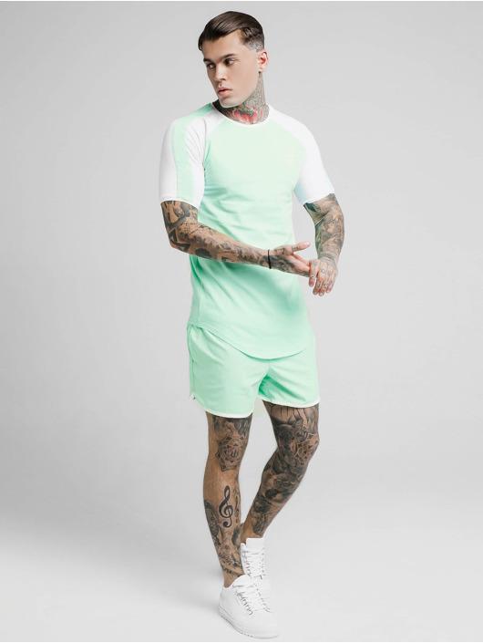 Sik Silk T-Shirty Raglan Contrast Ringer Gym zielony