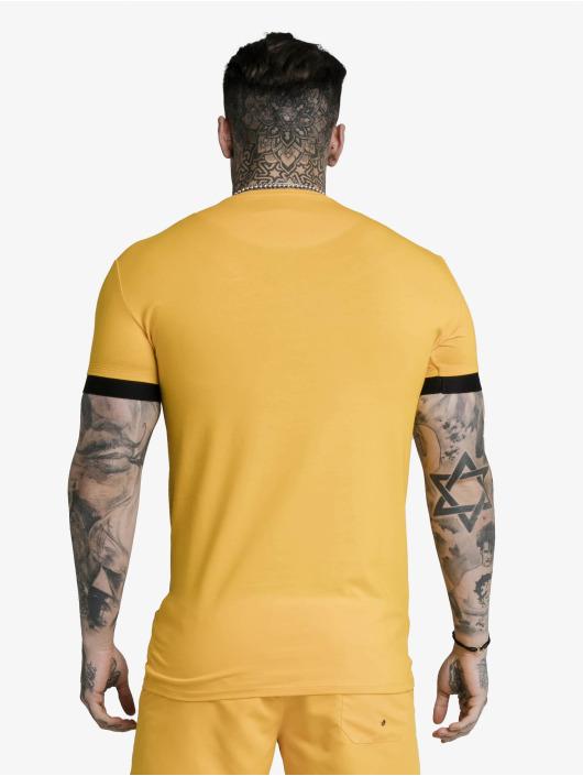 Sik Silk T-Shirty Inset Elastic Cuff Gym zólty