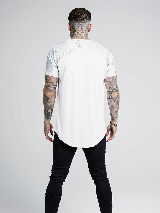 Sik Silk T-skjorter Marbleise Raglan Curved Hem hvit
