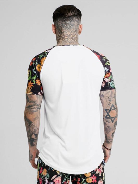Sik Silk T-skjorter Secret Garden Raglan Curved Hem hvit