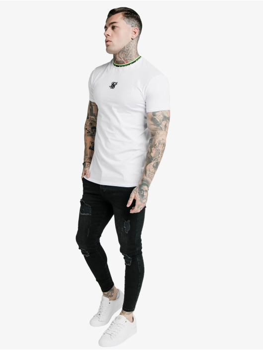 Sik Silk T-skjorter Straight Hem Tape Collar Gym hvit