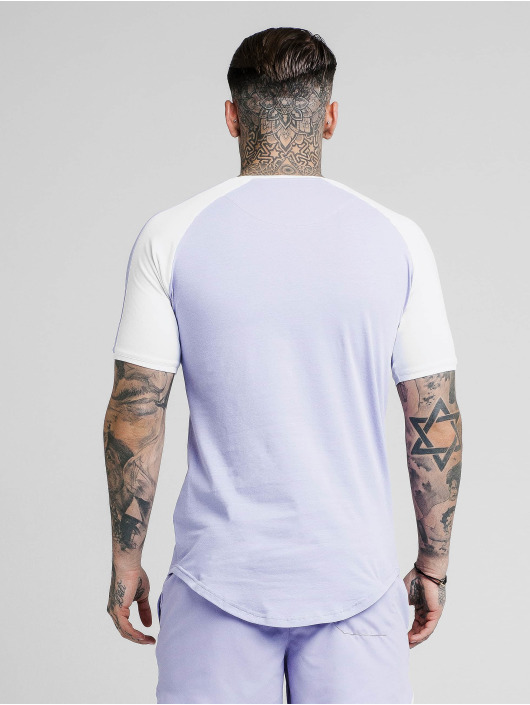 Sik Silk T-skjorter Raglan Contrast Ringer Gym lilla