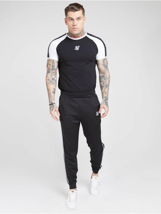 Sik Silk T-skjorter Raglan Straight Hem Tape Gym svart