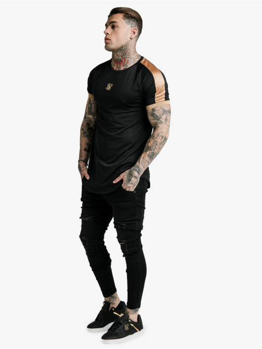 Sik Silk T-skjorter Inset Cuff Tech svart