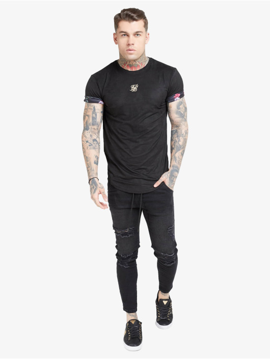 Sik Silk T-skjorter Roll Sleeve svart