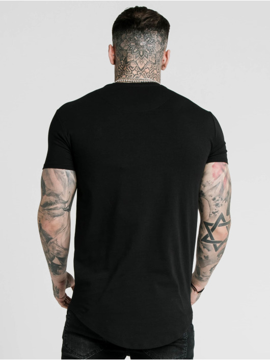Sik Silk T-skjorter Curved Hem Colours Gym svart