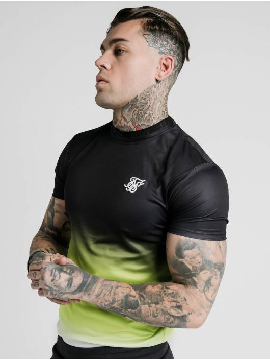Sik Silk T-skjorter Tri Fade Tape Collar svart