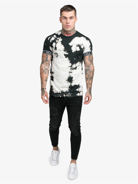 Sik Silk Tričká Tie Dye Cuff èierna