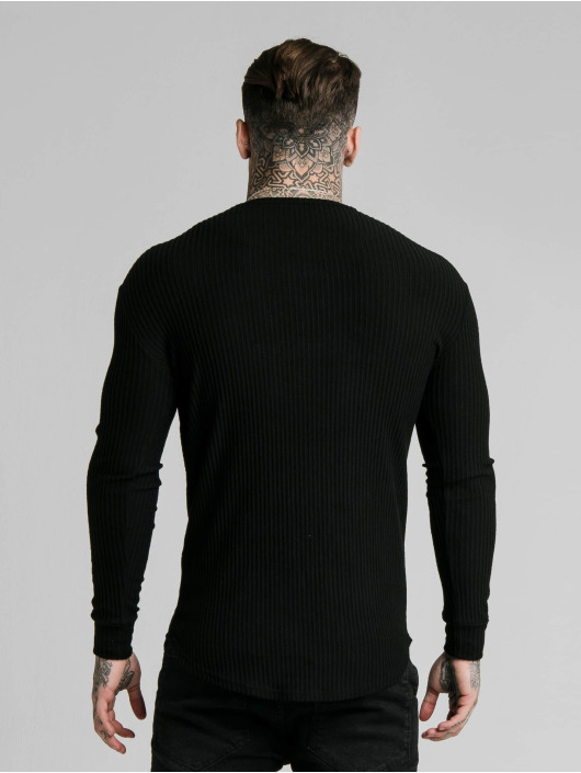 Sik Silk Tričká dlhý rukáv Brushed Rib Knit Gym èierna