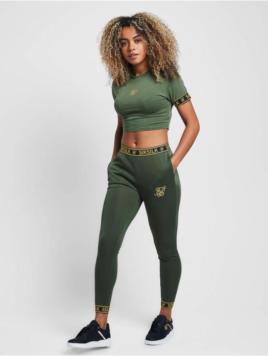 Sik Silk Tričká Tape Cuff Crop zelená