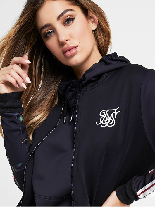 Sik Silk Zip Hoodie Oil Piant Poly èierna