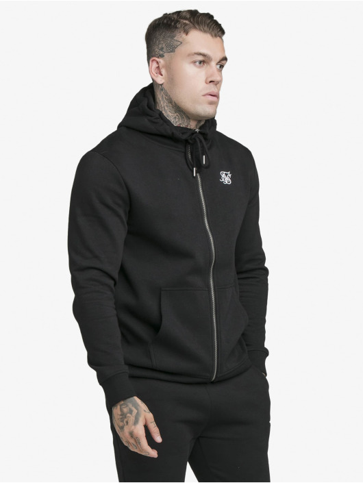 Sik Silk Zip Hoodie Zip Through Funnel Neck èierna