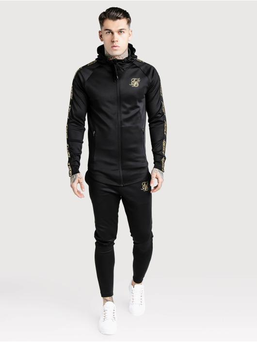 Sik Silk Zip Hoodie Golden Reflect Zip Through čern