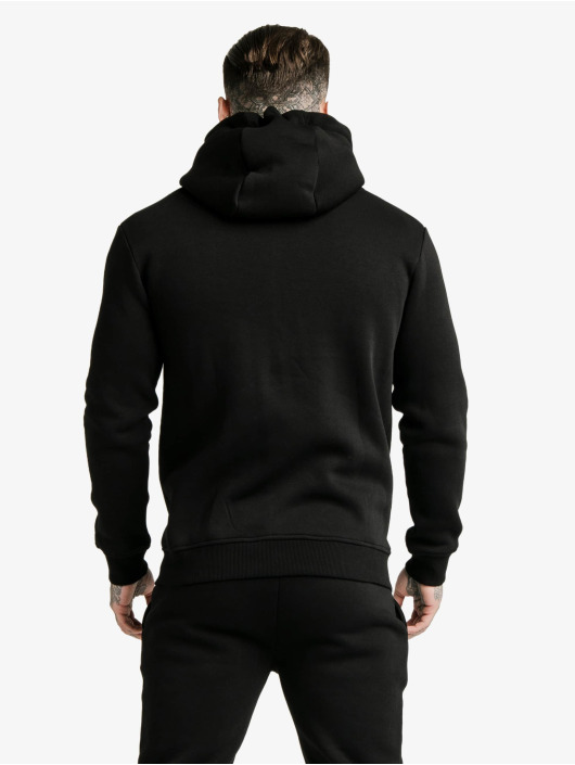Sik Silk Zip Hoodie Zip Through Funnel Neck black