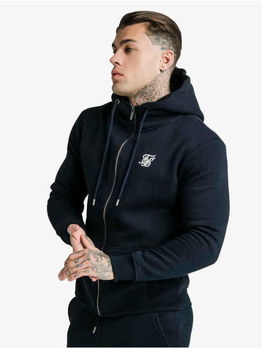 Sik Silk Zip Hoodie Zip Through Funnel Neck blau