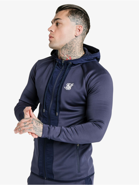 Sik Silk Zip Hoodie Creased Nylon blue
