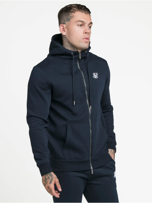 Sik Silk Zip Hoodie Zip Through Funnel Neck blue