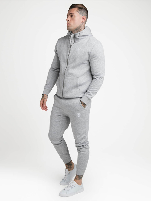 Sik Silk Zip Hoodie Zip Through Funnel Neck grey