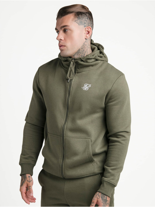 Sik Silk Zip Hoodie Zip Through Funnel Neck kaki