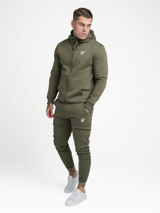 Sik Silk Zip Hoodie Zip Through Funnel Neck khaki