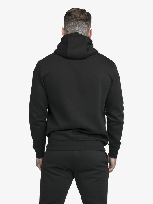 Sik Silk Zip Hoodie Zip Through Funnel Neck schwarz