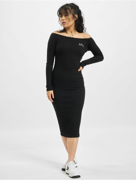 Sixth June Dress Ribbed Long black