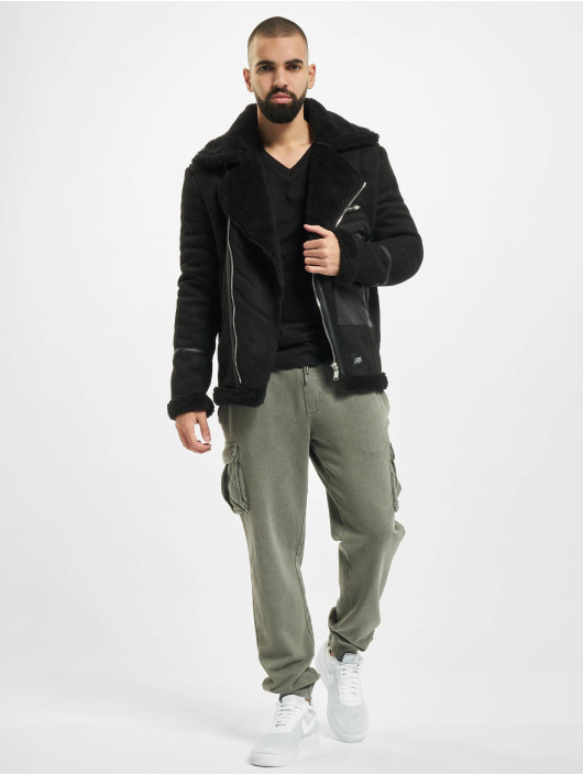 Sixth June Giacca in pelle Aviator With Sherpa nero