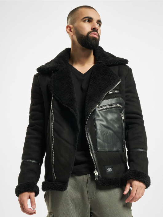 Sixth June Leather Jacket Aviator With Sherpa black