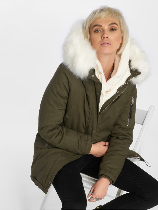 Sixth June Oversize With Fake Fur Hood Classic Parka KhakiWhite