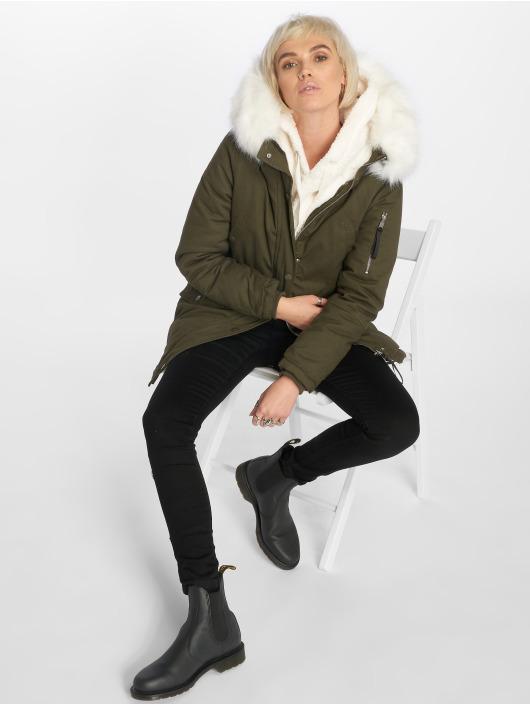 Sixth June Manteau hiver Oversize With Fake Fur Hood kaki