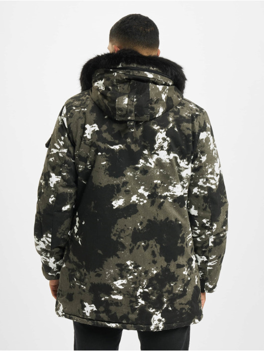 Sixth June Parka Moutain Print Parka With Fur czarny