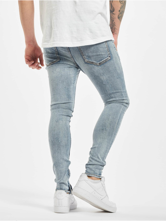 Sixth June Skinny Jeans Denim With Zip And Light Destr blau